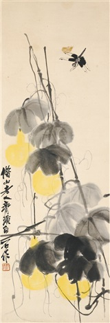 gourds with dragonfly by qi baishi