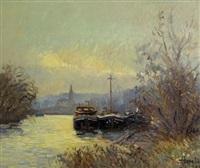 rivière aux trois péniches à conflans-sainte-honorine by jacques huet