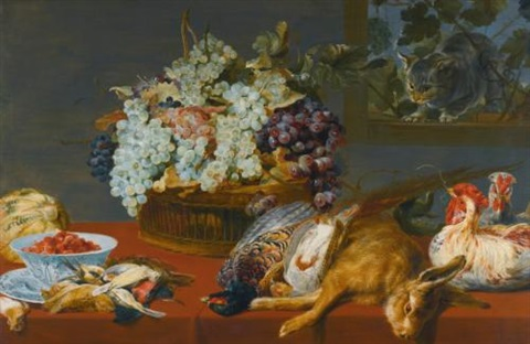 a still life of grapes in a basket fraises de bois in a porcelain bowl and a melon together with game songbirds and two chickens all upon a table covered with a red cloth a cat at a window beyond by frans snyders