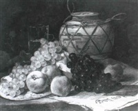 still life of grapes, peaches, a vase and a glass by boomgan