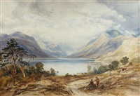 loch lomond,with figures and cattle in the foreground, ben lomond beyond by copley fielding