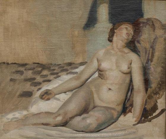 femme nue allongée preparatory study by joseph marius avy