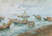 spiaggia con pescatori by romolo leone