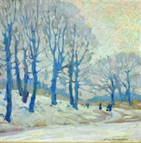 a tree lined winterscape with figures by jane peterson