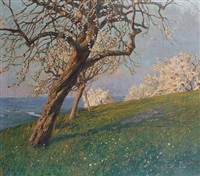 a hillside view with trees in full bloom by carl gödel