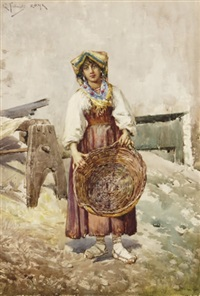 a peasant woman holding a basket by g. fortunati