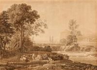 landschaft mit der flucht nach ägypten (+ küstenlandschaft mit acis und galathea; pair, after claude lorrains) by johann philipp veith