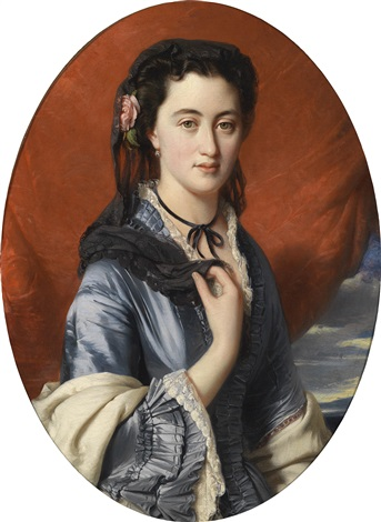 bildnis einer dame mit rosen im haar by franz xaver winterhalter