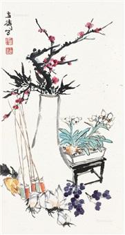 清供 立轴 纸本 by wang xuetao