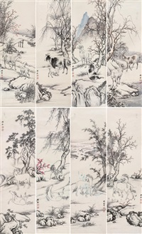 goat and horses (8 works) by yin qzixiang