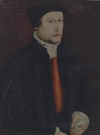 portrait of the botanist johannes von stein in a black coat, a scroll in his left hand by hans holbein the elder