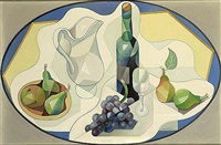a still life with grapes, a jug and a bottle by albert fiks