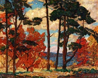 lake in autumn landscape by ernest bruce nelson
