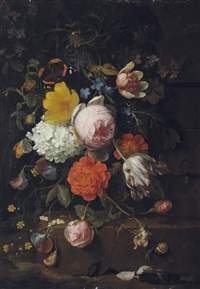 peonies, tulips, roses and other flowers on a ledge with a snail, a beetle and a butterfly by jan mortel