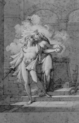 a nude holding a sword and kissing a woman in front of a burning altar by armand charles caraffe