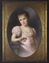 salomé koechlin as a child, wearing low-cut pink dress with puffed short sleeves and gathered white trim and bead necklace, resting her right elbow on a plinth and holding a bunch of grapes by charles junger