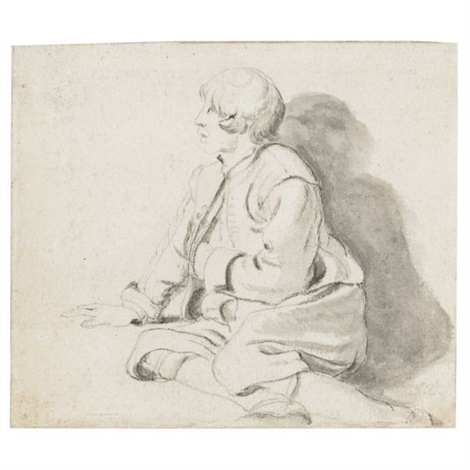 a seated youth a rams head sketch verso by gerbrand van den eeckhout
