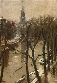 a view of amsterdam in winter by solomon garf
