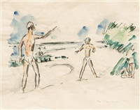 ballplayers on the beach by ivo hauptmann