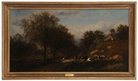 cows in a meadow by a stream by james mcdougal hart