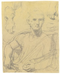 a sheet of studies for a seated julius caesar: a separate study for his right arm and part of the torso, and his right and left hand by jean-auguste-dominique ingres