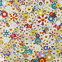acupuncture/flowers; acupuncture/flowers (checkers); field of smiling flowers; open your hands wide, embrace happiness! (4 works) by takashi murakami