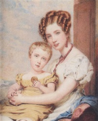 a lady and child, she wears white short-sleeved dress, coral necklace and matching pendant earrings, her son wears yellow dress and holds a toy by william john (sir) newton