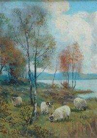 sheep grazing by a highland loch by alexander wellwood rattray