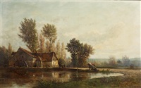 the watermill by emile charles lambinet
