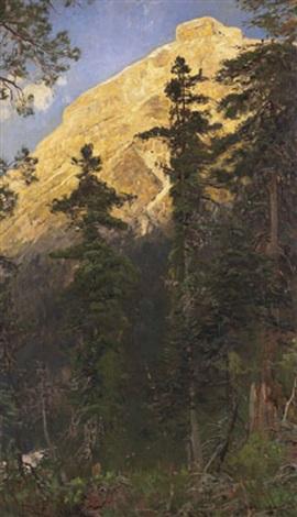 bergwald mit felsenwand by eugen felix prosper bracht