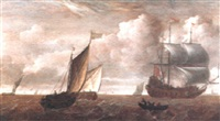 dutch pinks, a man o'war and other vessels off dordrecht by julius porcellis