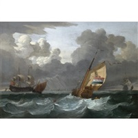 a dutch yacht off the coast, a man-o-war and other ships in the distance by wigerus vitringa
