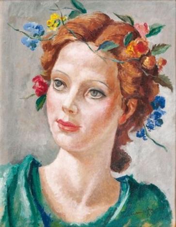portrait de jeune femme à la couronne de fleurs by mariano andreu