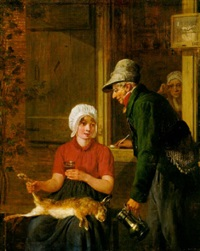 an elderly sportsman proposing to a young lady, old woman watching from a window beyond by jacobus johannes lauwers