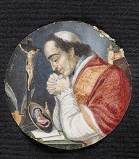 a cleric, called pope pius vi, in profile to left, wearing red and white robes trimmed with lace and fur, white skull cap on curling brown hair by frans xavier krebs