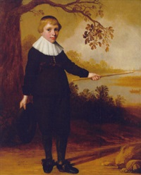 portrait of a boy, aged seven, in a brown costume, a hat in his right hand and a stick in his left, indicating a river landscape beyond by jan daemen cool