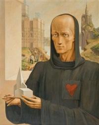 le géomètre ou le moine constructeur et trois études dessinées pour ce tableau (4 works) by luc lafnet
