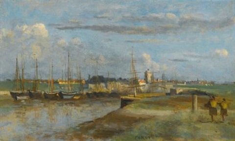 dunkerque larrière port by jean baptiste camille corot