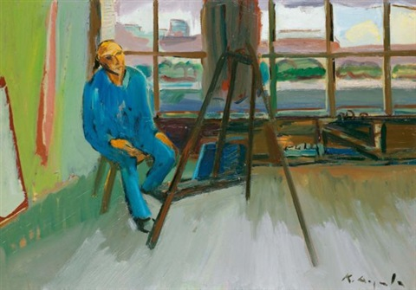 selbstbildnis im atelier basel self portrait in the studio basel by karl aegerter