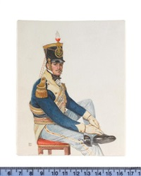 an officer, seated on a red upholstered chair, wearing blue coat with cream facings, gold epaulettes, pale blue trousers and plumed black hat by michael bartlett