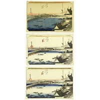 fifty-three stations of the tōkaidō yoshida (3 works) by ando hiroshige