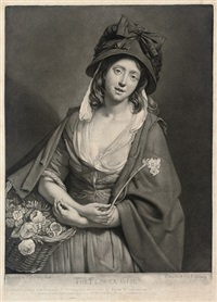 the flower girl (after johan zoffany, + the watercress girl, irgr; 2 works) by john young