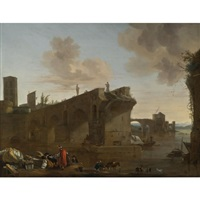 rome, a view of the ponte rotto by jan asselijn