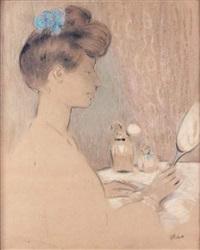 jeune femme au miroir by ramón pichot girones