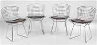 suite de quatres chaises 420 c by harry bertoia
