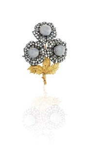 a diamond, cultured pearl, and gold brooch by buccellati