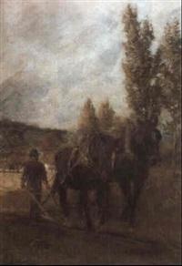 farmer ploughing in a field by harry spiers