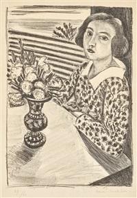 jeune fille assise au bouquet de fleurs by henri matisse
