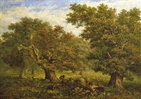 figures by the trees by john linnell