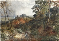 figure on a woodland path by samuel bough